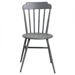 Set of 2 Windsor Commercial Grade Aluminium Indoor / Outdoor Dining Chairs, Rustic Grey