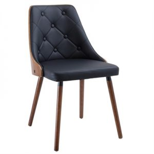 Set of 2 Yvonne PU Leather & Timber Dining Chairs - Black