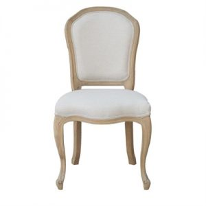 Shelly Linen Fabric & Oak Timber Dining Chair, Oatmeal/Weathered Oak