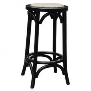 Sherwood Solid Oak Timber Counter Stool with Rattan Seat, Distressed Black