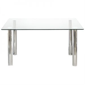 Taffy Glass Top Dining Table, 160cm, Clear