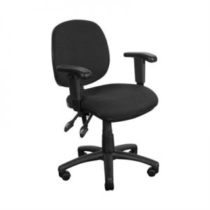 Task Fabric Office Chair with Arms, Black