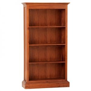 Tasmania Mahogany Timber Wide Bookcase, Light Pecan