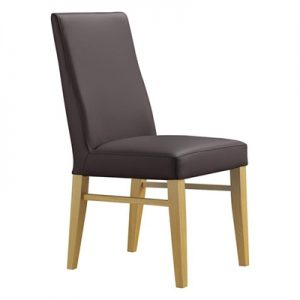 Theon Leather Dining Chair, Brown / Wheat