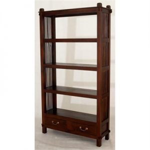 Three-Shelf + 2 Drawers Solid Mahogany Open Bookcase - Mahogany