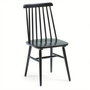 Tudor Solid Rubberwood Timber Dining Chairs, Black