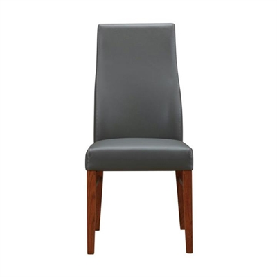 Tyrion Leather Dining Chair, Grey / Blackwood