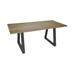 Udall Solid Mango Wood Timber and Metal Dining Table, 180cm