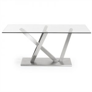 Uzi Tempered Glass & Stainless Steel Dining Table, 180cm, Clear / Silver