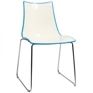 Zebra Bicolore Italian Made Commercial Grade Dining Chair, Sled Leg, Blue / Chrome