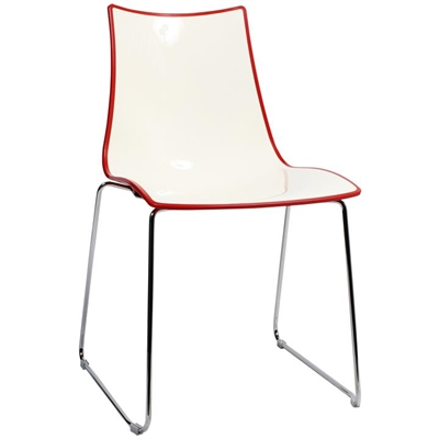 Zebra Bicolore Italian Made Commercial Grade Dining Chair, Sled Leg, Red / Chrome
