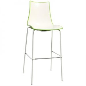 Zebra Bicolore Italian Made Commercial Grade Indoor/Outdoor Bar Stool, Metal Leg, Green / White