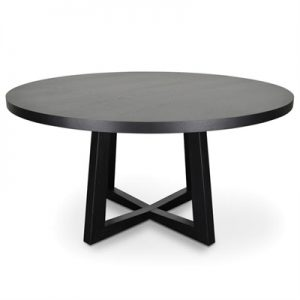 Zed Wooden Round Dining Table, 150cm, Black