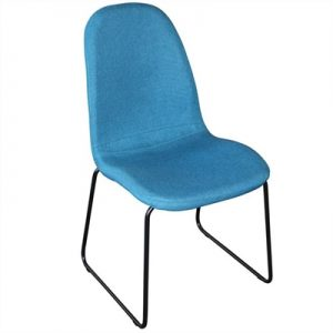 Zelfa Fabric Upholstered Matal Dining Chair, Blue