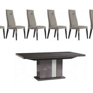 ALF - Avellino Extending Dining Table and 6 Dining Chairs - 210-cm - Grey