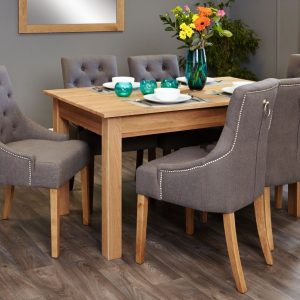 Baumhaus Mobel Oak 150cm Dining Set - 6 Stone Chairs
