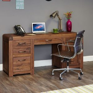 Baumhaus Shiro Walnut Twin Pedestal Computer Desk