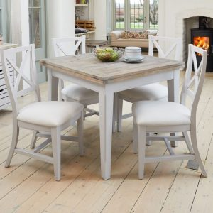 Baumhaus Signature Grey Dining Set - Square Extending with 4 Chairs