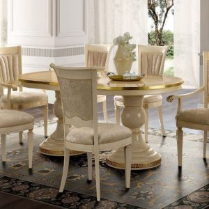 Camel Aida Day Ivory Italian Oval Extending Dining Set with 6 Chairs and 2 Armchairs