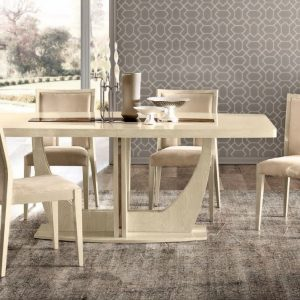 Camel Ambra Ivory Italian 160cm Rectangular Extending Dining Set with 4 Cream Chairs