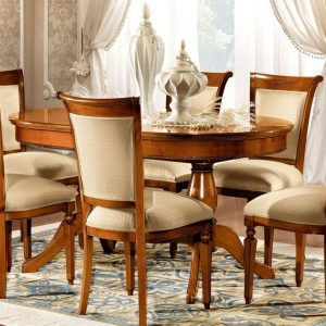 Camel Torriani Day Walnut Italian 160cm Oval Extending Dining Set with 6 Chair