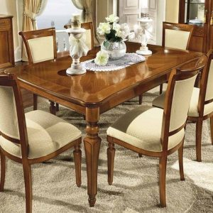 Camel Torriani Day Walnut Italian 180cm Rectangular Extending Dining Set with 6 Chair