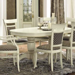 Camel Treviso Day White Ash Italian 160cm Oval Extending Dining Set with 4 Chair and 2 Armchair
