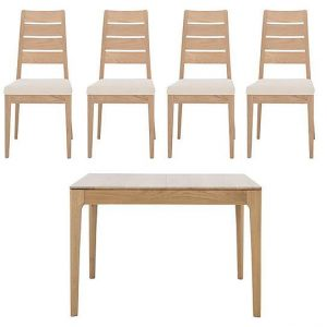 Ercol - Romana Small Extending Dining Table and 4 Slatted Dining Chairs - Brown