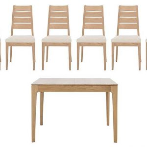 Ercol - Romana Small Extending Dining Table and 6 Slatted Dining Chairs - Brown