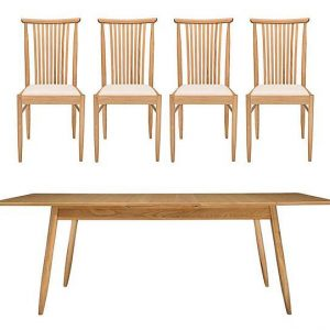 Ercol - Teramo Medium Dining Table and 4 Slatted Chairs - Brown