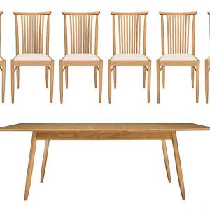Ercol - Teramo Medium Dining Table and 6 Slatted Chairs - Brown