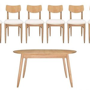 Ercol - Teramo Small Dining Table and 6 Alia Chairs - Brown