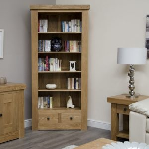 Homestyle Bordeaux Oak Large Bookcase with Drawer