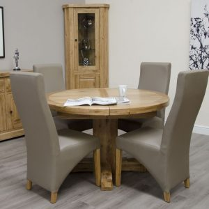 Homestyle Deluxe Oak Oval Super Extending Dining Set - 4 Wave Bonded Mushroom Chairs