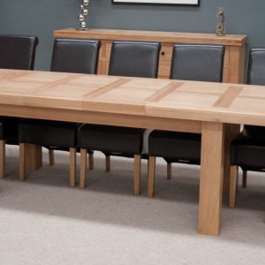 Homestyle Homestyle GB Bordeaux Oak Grand Rectangular Extending Twin Panel Dining Set with 8 Richmond Black Chairs - 220cm-320cm