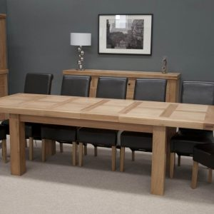 Homestyle Homestyle GB Bordeaux Oak Large Rectangular Extending Twin Panel Dining Set with 8 Richmond Black Chairs - 180cm-260cm