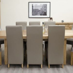 Homestyle Homestyle GB Deluxe Oak Super Oval Extending Dining Set with 8 Marjukka Stone Chairs - 210cm-290cm