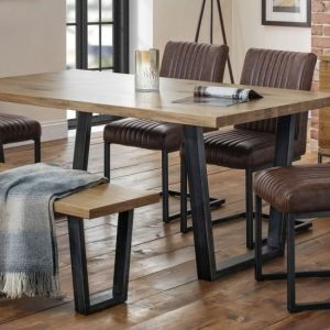 Julian Bowen Brooklyn Oak Rectangular Dining Set with 4 Antique Brown Faux Leather Chair and 1 Bench