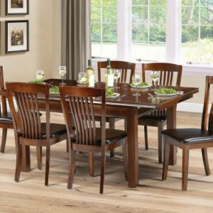 Julian Bowen Canterbury Mahogany Rectangular Extending Dining Set with 4 Brown Faux Leather Chairs - 120cm-160cm