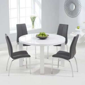 Mark Harris Ava White High Gloss 120cm Round Dining Set - 4 Carsen Grey Dining Chairs