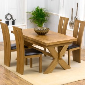 Mark Harris Avignon Oak 160cm Extending Dining Set - 4 Arizona Brown Dining Chairs