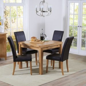 Mark Harris Cambridge Oak 90cm Extending Dining Set - 4 Atlanta Brown Bycast Leather Dining Chairs
