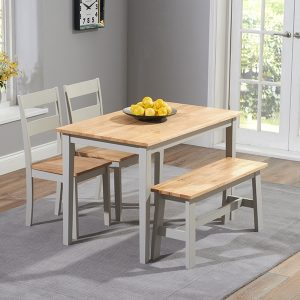 Mark Harris Chichester Oak and Grey 115cm Dining Set - 2 Chairs and 1 Bench