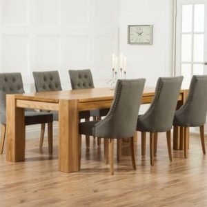 Mark Harris Madrid Oak 200cm Dining Set - 6 Pailin Grey Chairs