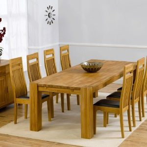 Mark Harris Madrid Oak 240cm Extending Dining Set - 8 Monte Carlo Black Chairs