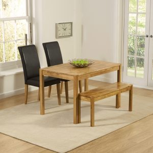 Mark Harris Promo Solid Oak Dining Set - 120cm with 2 Atlanta Black Faux Leather Chairs and Bench