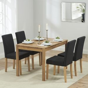 Mark Harris Promo Solid Oak Dining Set - 120cm with 4 Maiya Black Chairs