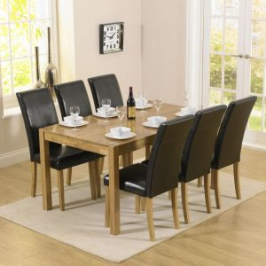 Mark Harris Promo Solid Oak Dining Set - 150cm with 6 Atlanta Black Faux Leather Chairs