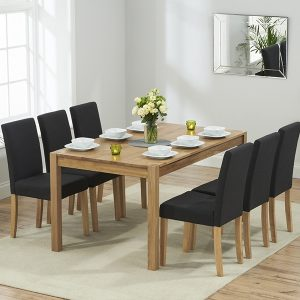 Mark Harris Promo Solid Oak Dining Set - 150cm with 6 Maiya Black Chairs