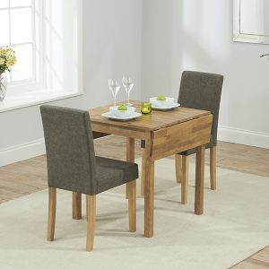 Mark Harris Promo Solid Oak Dining Set - 70cm Rectangular Extending with 2 Maiya Brown Chairs